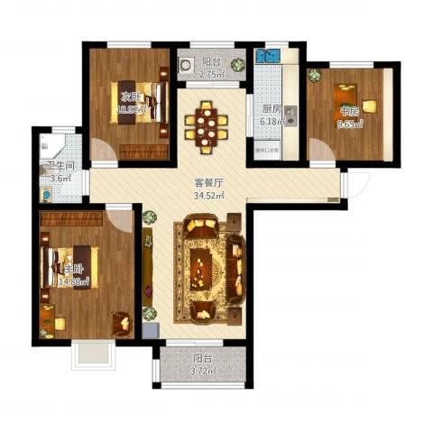 银丰唐郡荷花园3室1厅1卫1厨125.00㎡户型图