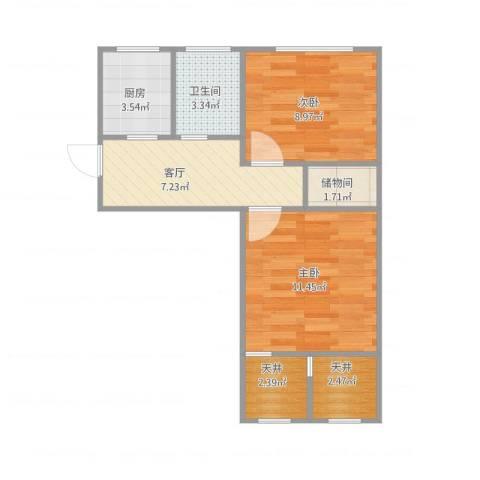 泾东一村2室1厅1卫1厨57.00㎡户型图