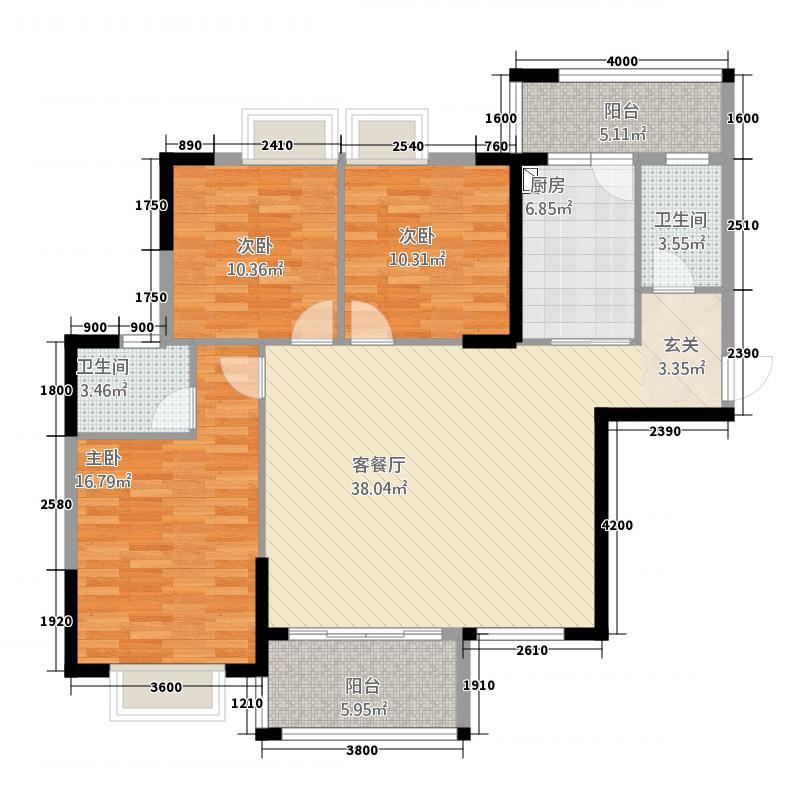 嘉燕橘州明珠127.55㎡A1栋03户型3室2厅2卫1厨