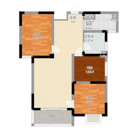苹果乐园3室1厅1卫1厨108.00㎡户型图
