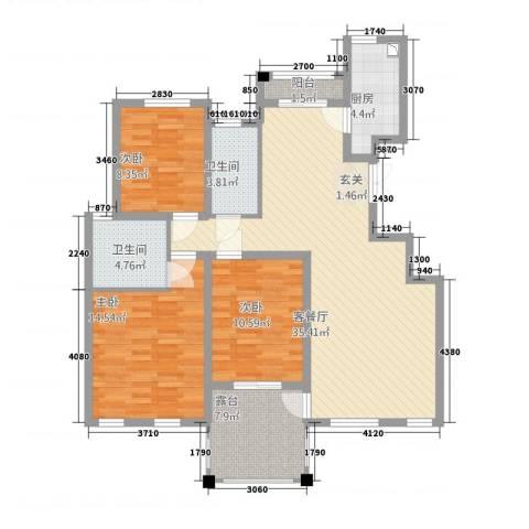 春龙金色城市3室1厅2卫1厨91.25㎡户型图