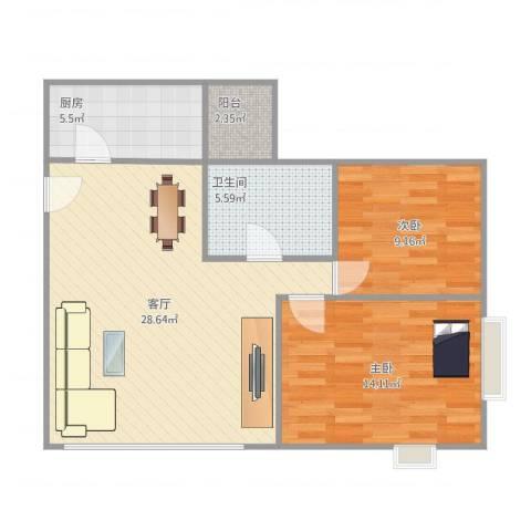 顺德碧桂园西苑2室1厅1卫1厨88.00㎡户型图