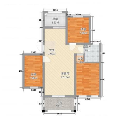 春龙金色城市3室1厅1卫1厨66.91㎡户型图