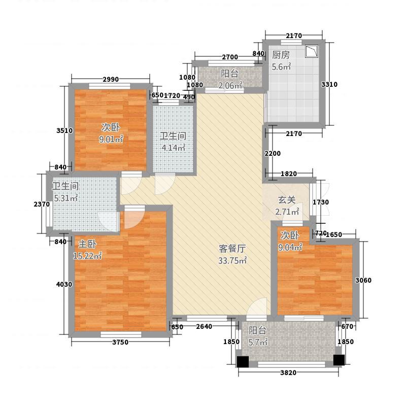 春龙金色城市131.41㎡D户型3室2厅2卫1厨
