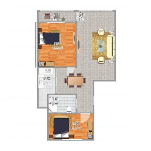 金牛苑2室1厅1卫1厨84.00㎡户型图