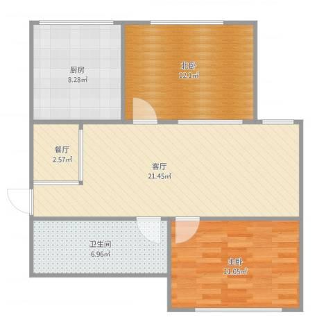 帝欧花园41-4-4011室2厅1卫1厨84.00㎡户型图