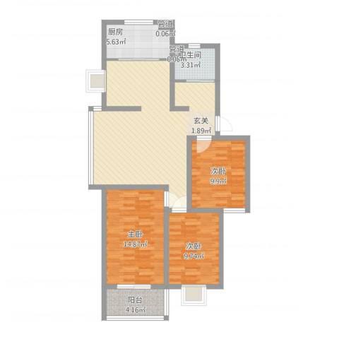教授花园三期新里程3室1厅1卫1厨116.00㎡户型图