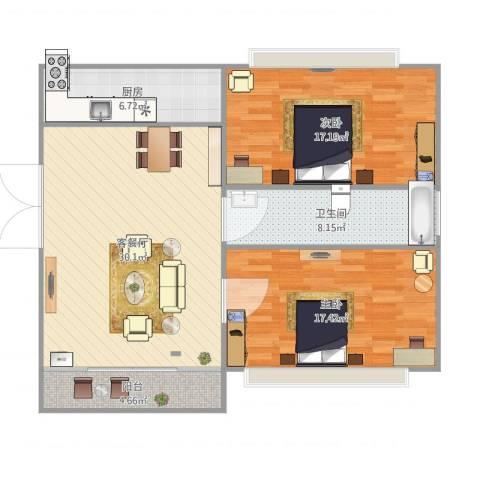 大华锦绣华城第16街区2室1厅1卫1厨112.00㎡户型图