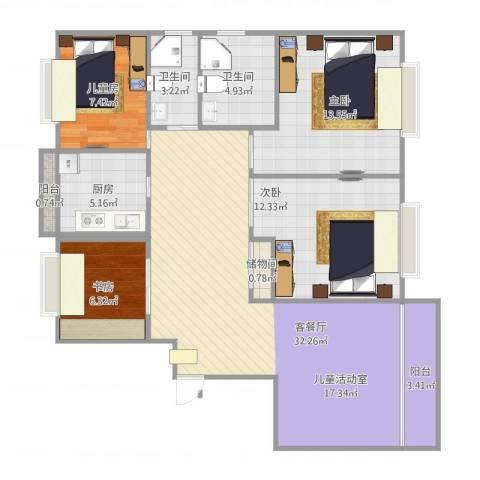 同济城市阳光4室1厅2卫1厨123.00㎡户型图