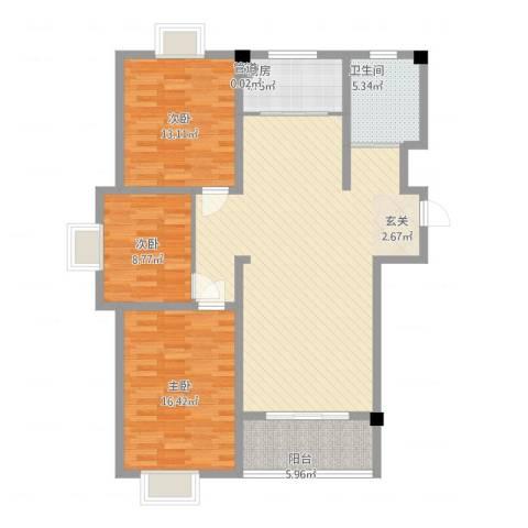 教授花园三期新里程3室1厅1卫1厨137.00㎡户型图
