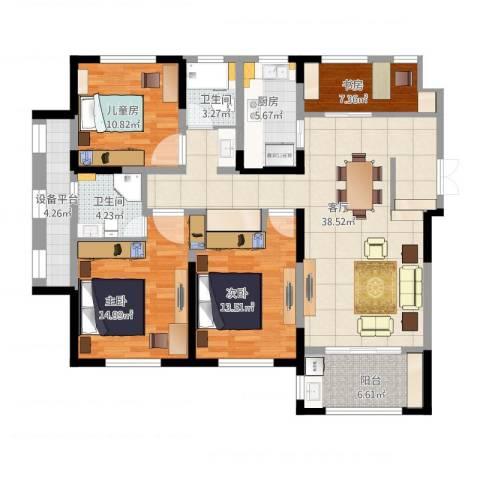 宝华家天下4室1厅2卫1厨157.00㎡户型图