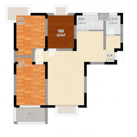 苹果乐园3室1厅1卫1厨113.00㎡户型图