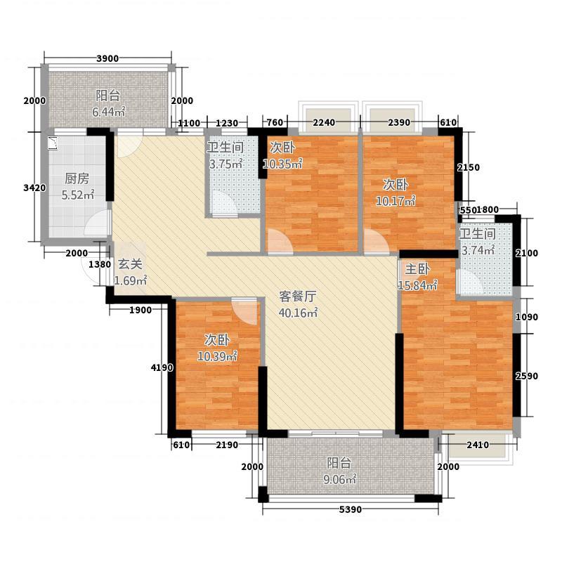嘉燕橘州明珠143.76㎡B1栋01户型4室2厅2卫1厨