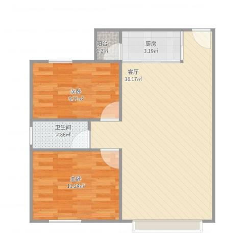 丽苑人家2室1厅1卫1厨78.00㎡户型图
