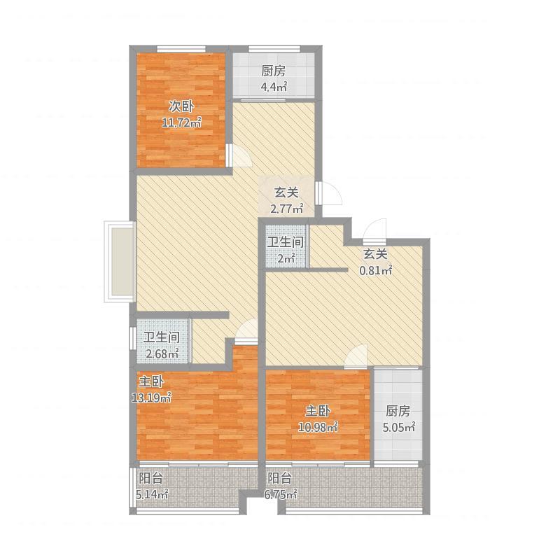 安泰·水晶城31#左-2室2厅1卫1阳台-89M²
