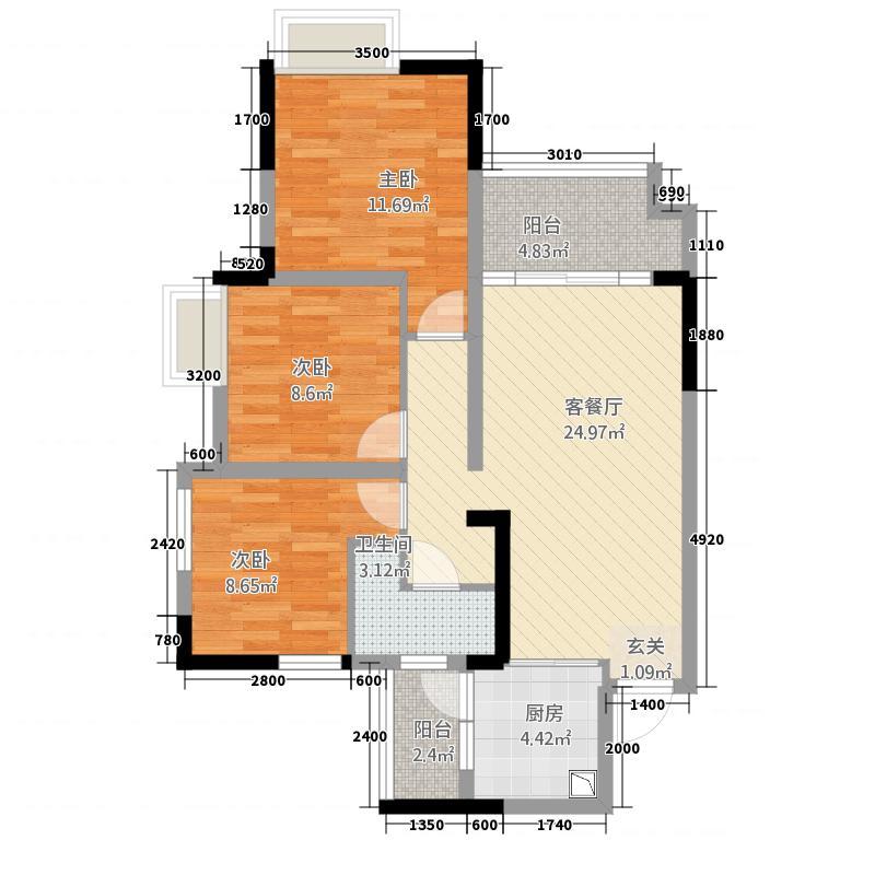 锦绣山河・低碳智慧新城8.58㎡G2-B1户型3室2厅1卫1厨