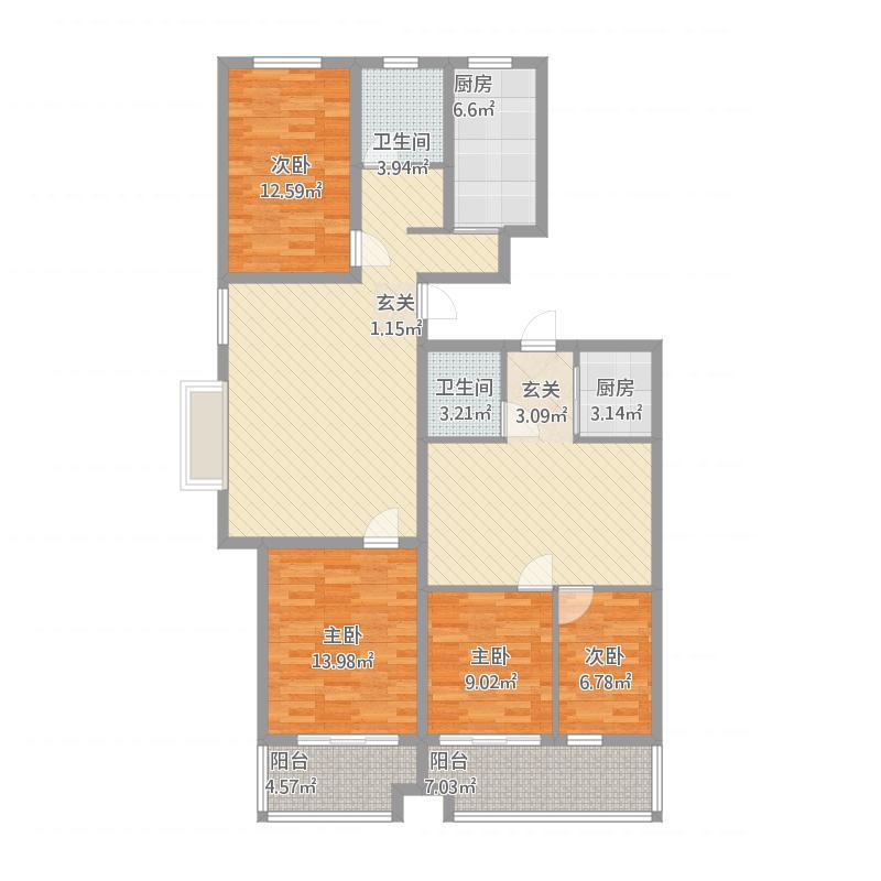 安泰·水晶城34#左-2室2厅1卫1阳台-94M