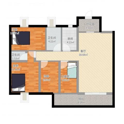 绿茵幸福城4室1厅2卫1厨126.00㎡户型图
