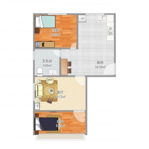 港机新村2室1厅1卫1厨64.00㎡户型图