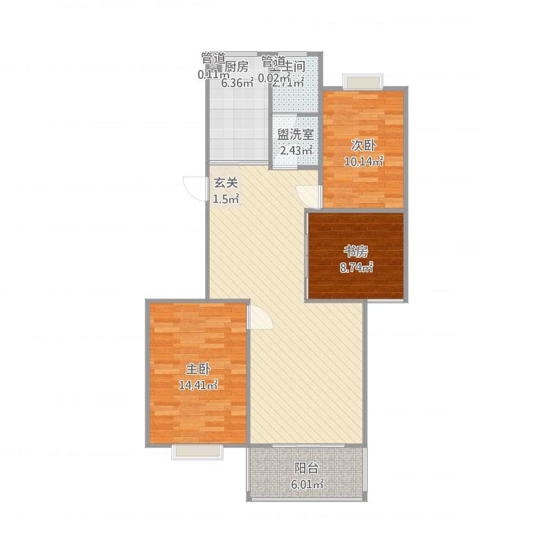 安泰·星河港湾户型5-3室2厅1卫-约107M²