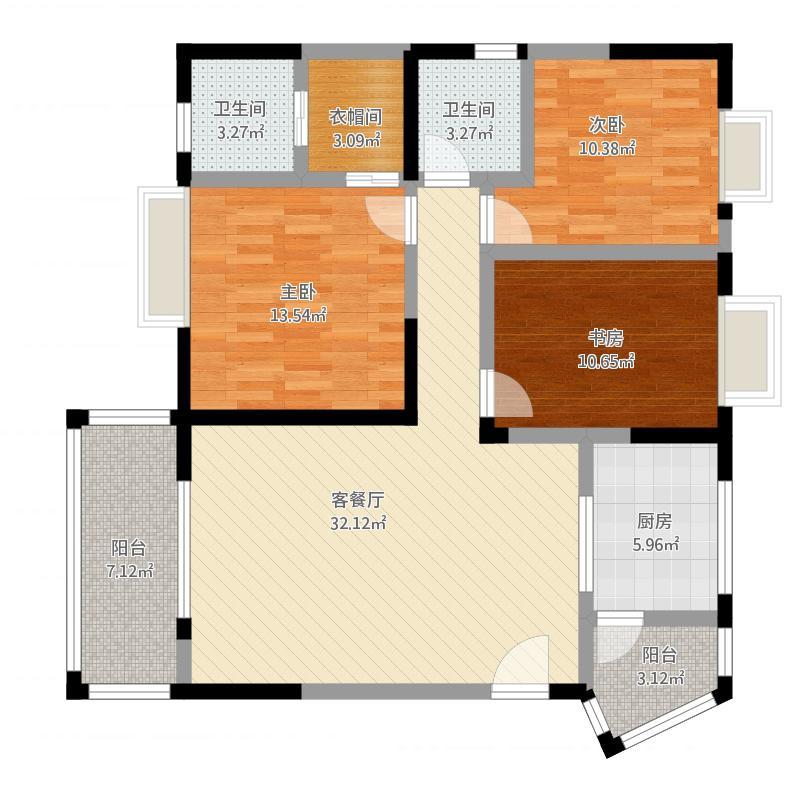 御锦苑130.75方A1-1户型三室两厅双卫双阳台