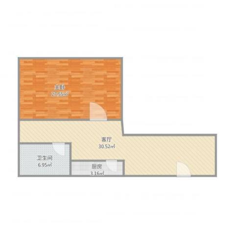 世纪名轩1室1厅1卫1厨91.00㎡户型图