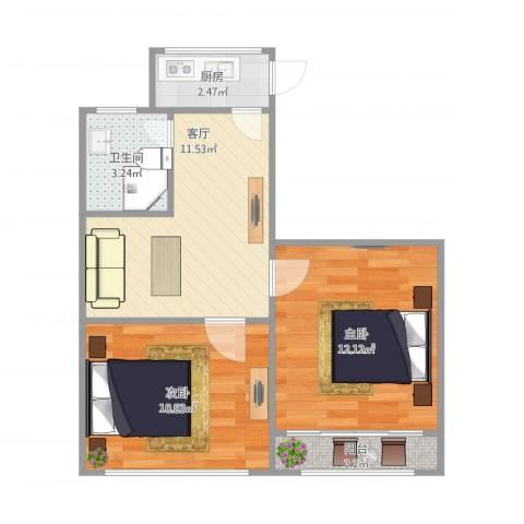 潍坊六村2室1厅1卫1厨58.00㎡户型图