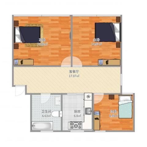 共和三村3室1厅1卫1厨97.00㎡户型图