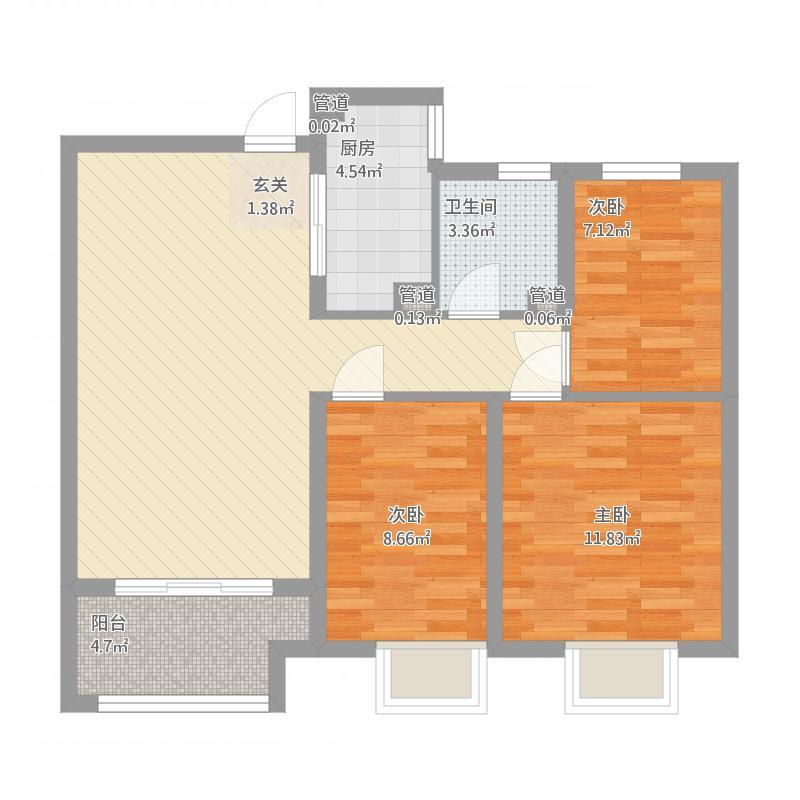浮来春公馆户型B1-3室2厅1卫-约100M²