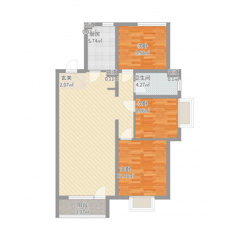 华润中心3C-3室2厅1卫-约122M²
