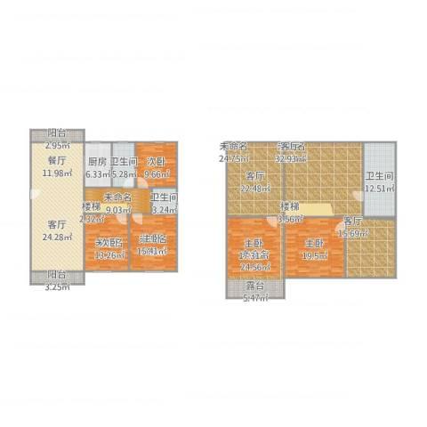 虎阜花园115平复式2室2厅3卫1厨306.00㎡户型图