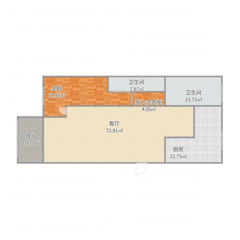 金都华庭1室1厅2卫1厨206.00㎡户型图
