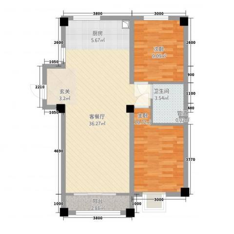 御翠豪庭2室1厅1卫0厨62.52㎡户型图