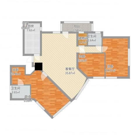 龙珠公寓3室1厅2卫1厨143.00㎡户型图