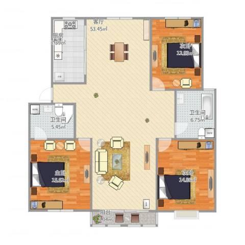 西民旺苑3室1厅2卫1厨159.00㎡户型图