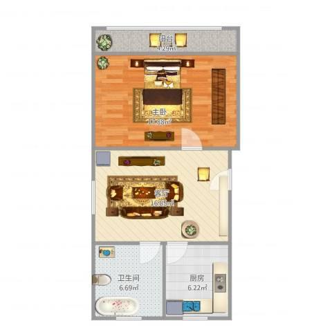 同济路1111弄1室1厅1卫1厨70.00㎡户型图