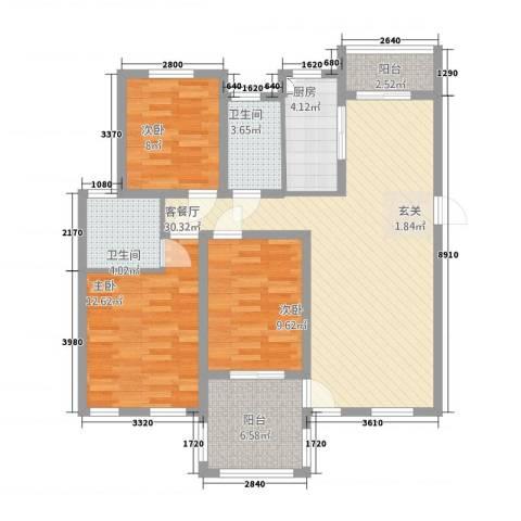 春龙金色城市3室1厅2卫1厨81.73㎡户型图