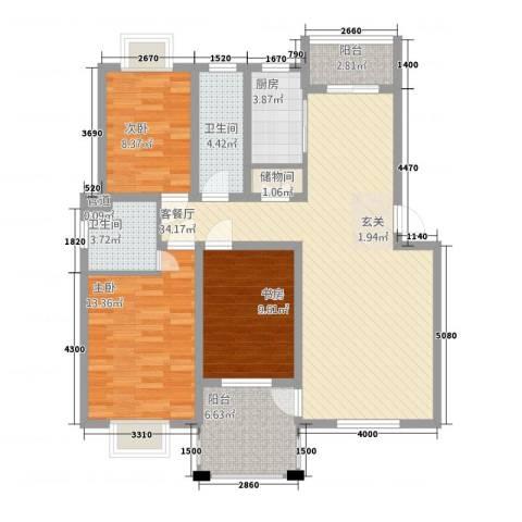 渝水华庭3室1厅2卫1厨127.00㎡户型图