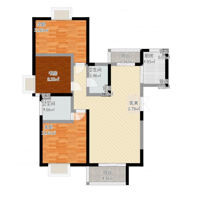 教授花园IV期碧山临海7#楼03户型-3室2厅2卫约126.44M²