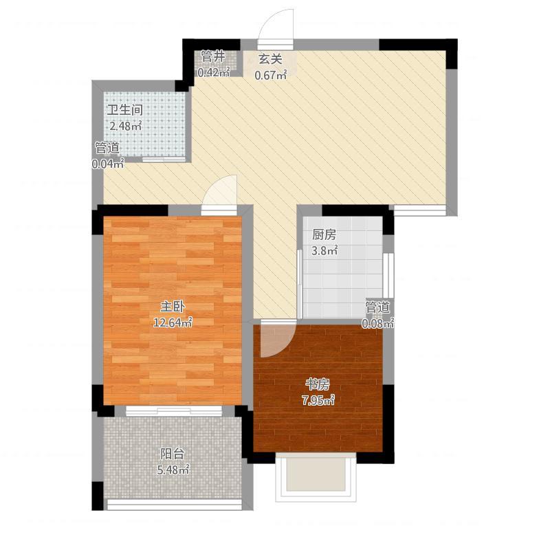 苹果乐园户型B1-2室1厅1卫-约75.16M²