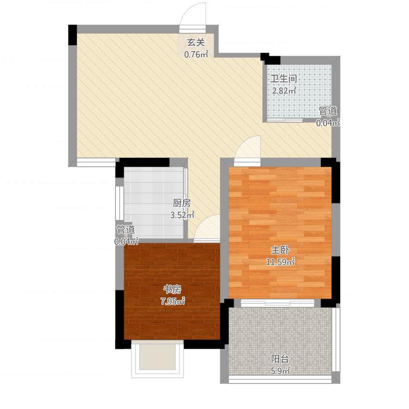 苹果乐园户型B2-2室1厅1卫-约74.64M²
