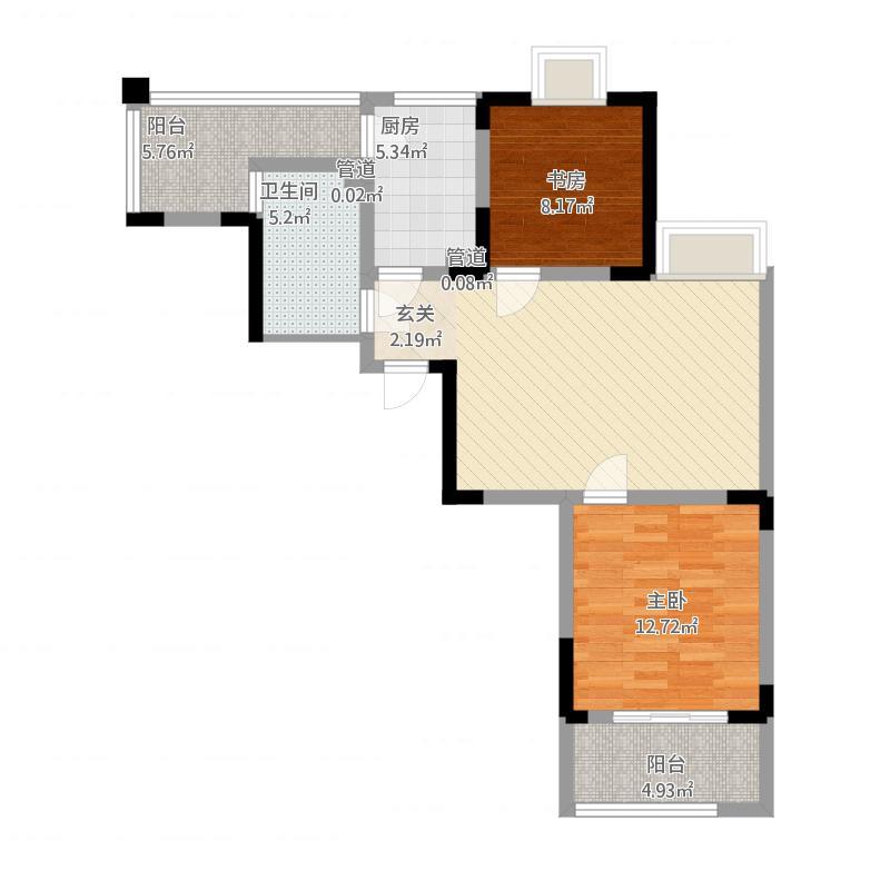 苹果乐园户型C2-2室1厅1卫-约92.53M²