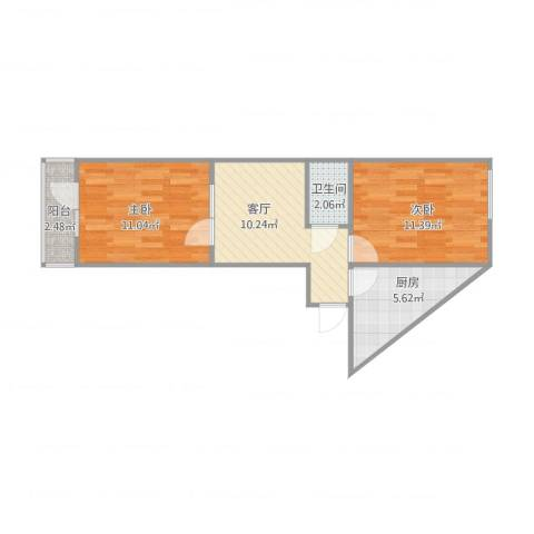 乐桥里二室2室1厅1卫1厨59.00㎡户型图
