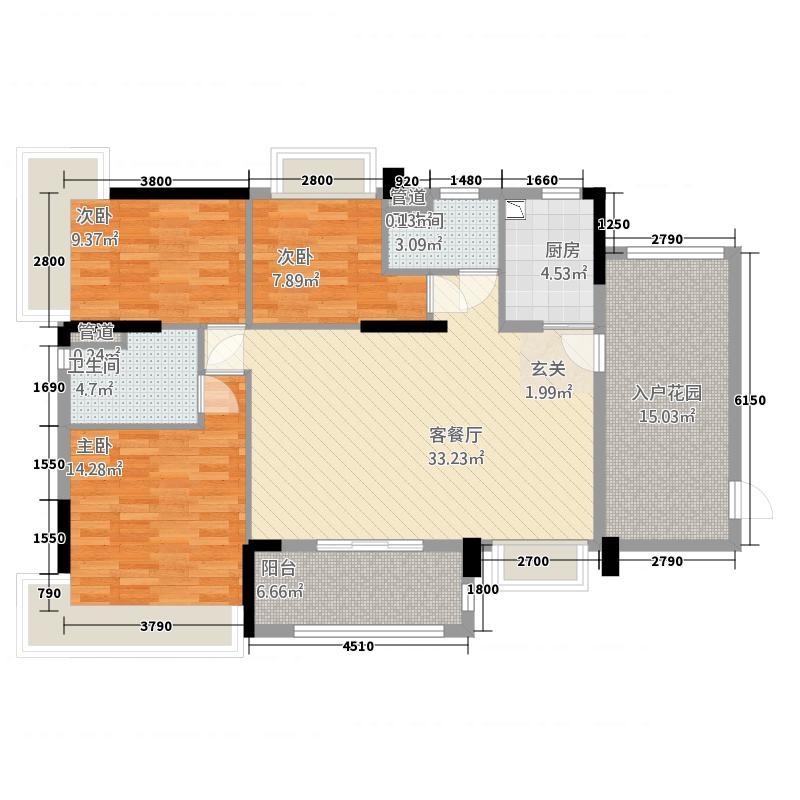华南城十里东岸四期・绿卡12.20㎡f户型3室2厅2卫1厨