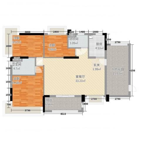 华南城十里东岸四期・绿卡3室1厅2卫1厨99.15㎡户型图