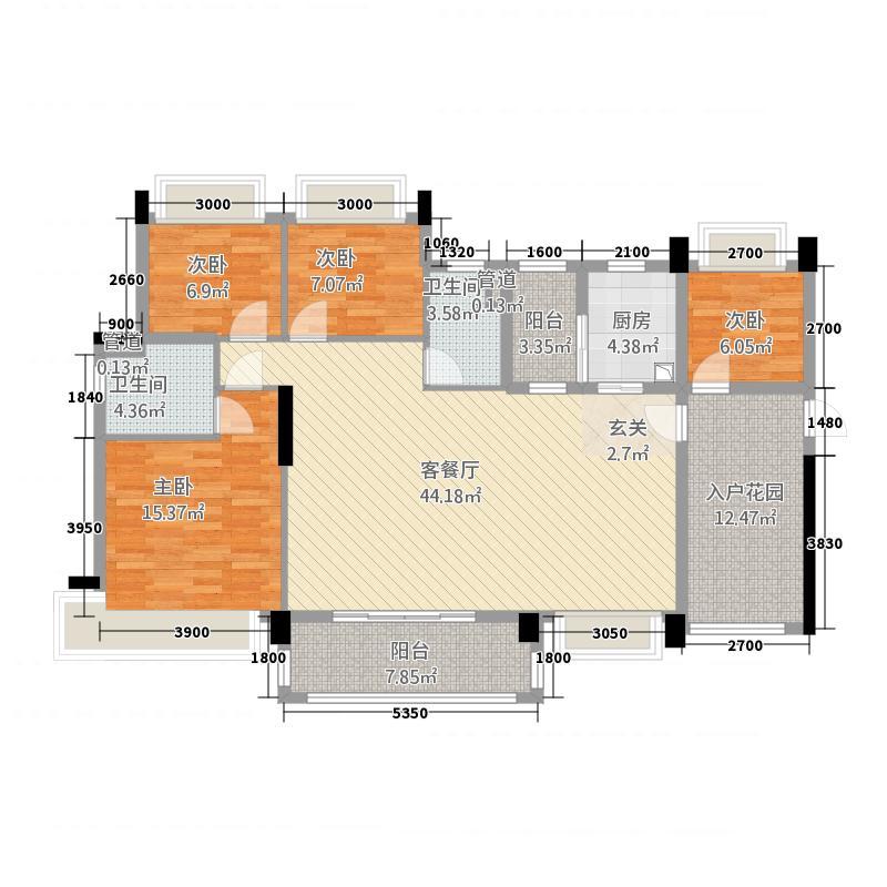 华南城十里东岸四期・绿卡144.33㎡c户型4室2厅2卫1厨