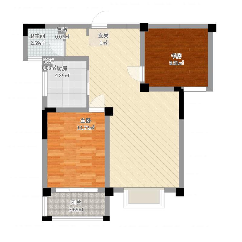 盛域·青花词户型3-2室2厅1卫-约92M²