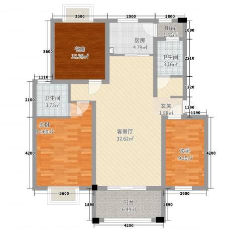 绿江南3室1厅2卫1厨86.42㎡户型图