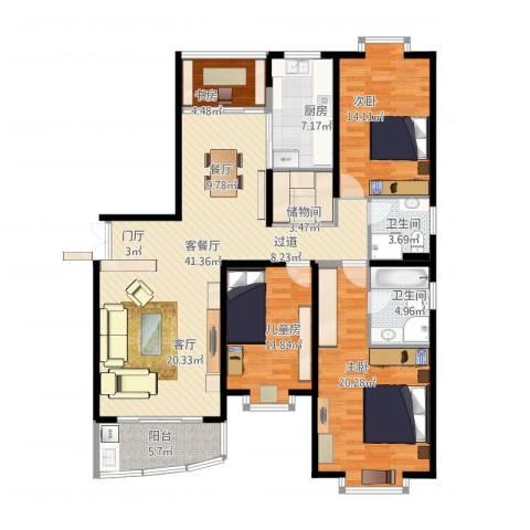 华丽家族花园4室1厅2卫1厨154.00㎡户型图