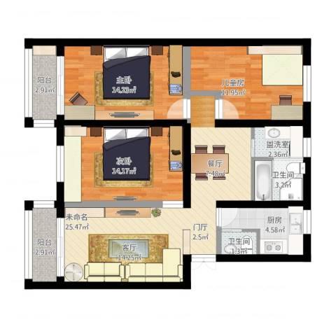 朝晖八区3室1厅3卫1厨125.00㎡户型图